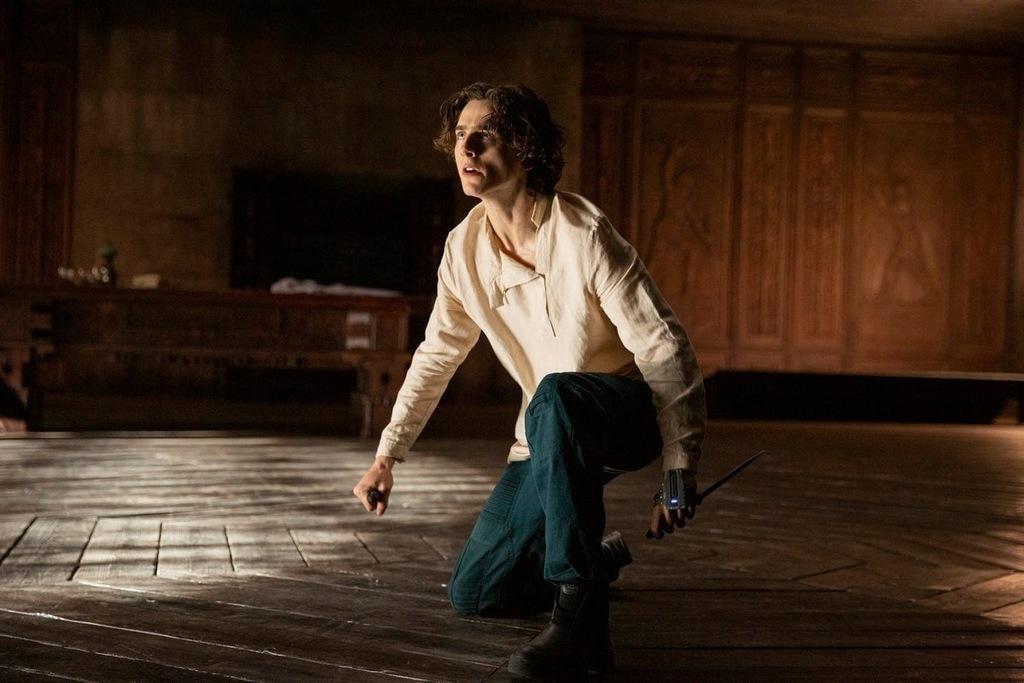 Timothée Chalamet in una scena del film Dune