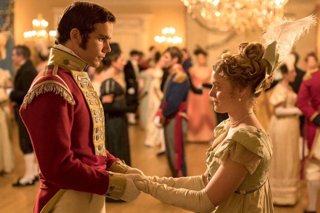 Jeremy Neumark Jones e Emily Reid in una scena della serie Belgravia
